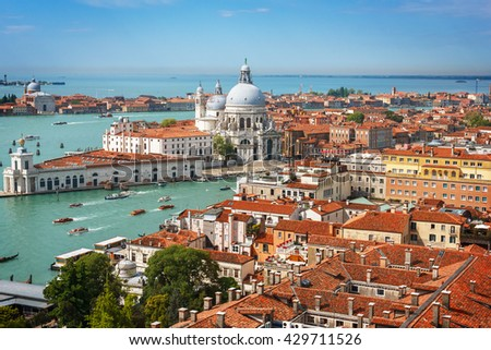 Panoramic aerial view of Venice from San Marco Campanile. - stock photo