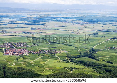 Panoramic aerial view the Upper Rhine plain in Alsace, France. View of the plain from the mountain on which the Haut-Koenigsbourg castle is located - stock photo