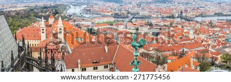 Panoramic aerial view to Prague castle (Pražský hrad), St. Vitus Cathedral and old town of Prague city - UNESCO world heritage site - Prague, Czech republic - architecture background - stock photo
