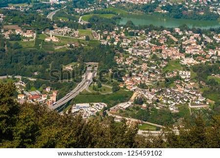Panoramic air view of Lugano city, Switzerland