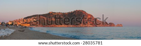 Panoramic Alanya castle during sunset - stock photo