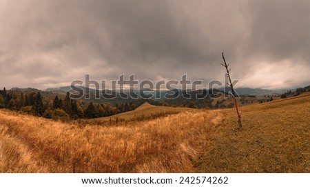 Panoramic autumn mountain landscape with heavy stormy clouds. Carpathian mountains. Ukraine. - stock photo