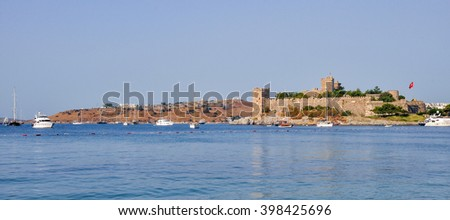 Panoramic Bodrum Castle (Castle of St. Peter). Mugla, Turkey - stock photo