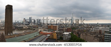 Panoramic City skyline of London, England from a high viewpoint in Southwark, South of the River Thames.