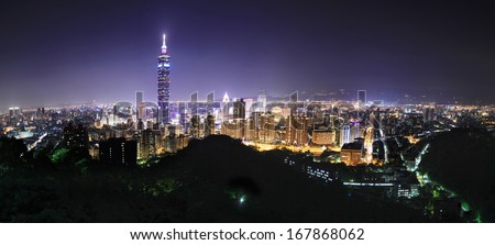 Panoramic city view at night inTaipei, Taiwan - stock photo