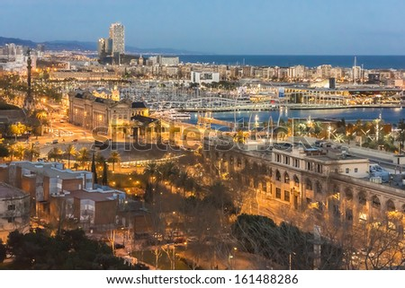 Panoramic city view over Barcelona at sunset. Barcelona, Catalonia, Spain.