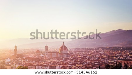 Panoramic cityscape, Cathedral Saint Mary of the Flower on sunset, Basilica di Santa Maria del Fiore in Tuscany Florence, Italy, Europe, amazing ancient sightseeing - stock photo