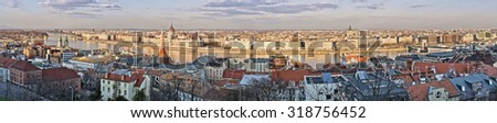 Panoramic cityscape of Budapest (made from Castle Hill), Hungary - stock photo