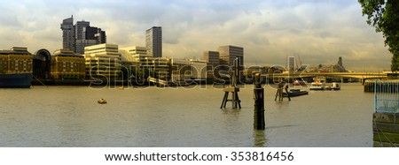 Panoramic cityscape of London over river Thames.