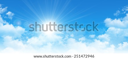 Panoramic cloudscape. High resolution blue sky background. The sun breaking through white clouds - stock photo