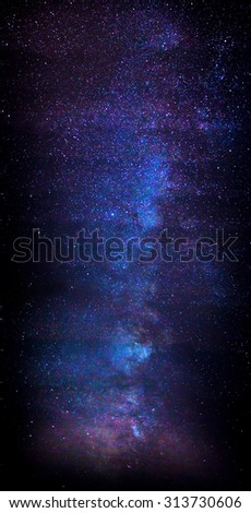 Panoramic composite of the Milky Way - stock photo