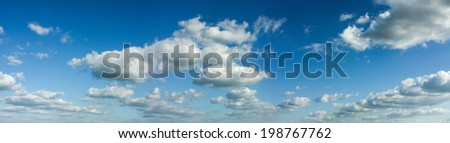 Panoramic composition photo of beautiful cloudy sky - stock photo