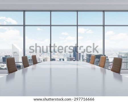 Panoramic conference room in modern office in New York City. Brown leather chairs and a table. 3D rendering. - stock photo