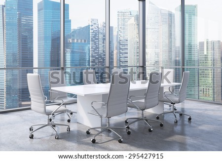 Panoramic Corner Conference Room Modern Office Stock Illustration - Corner conference table