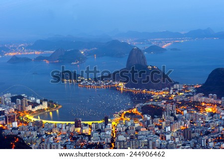 Panoramic from Corcovado moutain, Rio de Janeiro. - stock photo