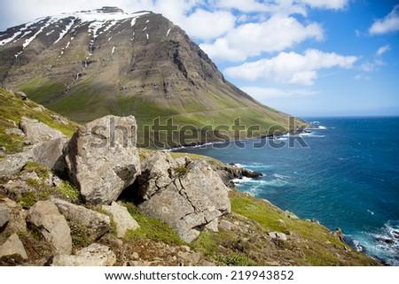 Panoramic Iceland coastline mountain near Mjoifjourdur - stock photo