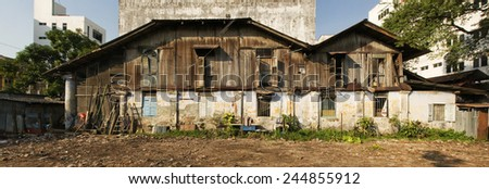 Panoramic image of a derelict old lodging house, George Town, Penang, Malaysia - stock photo