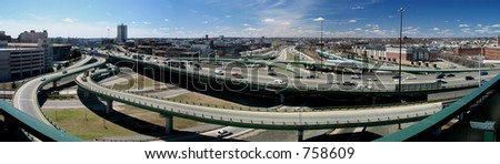 Panoramic image of an inner city highway in Providence, RI, USA. - stock photo