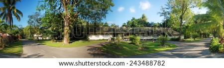Panoramic image of an old camp house in the rain forest, Borneo, Malaysia - stock photo