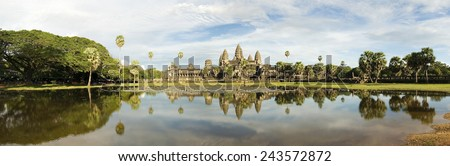 Panoramic image of Angkor Wat temple - stock photo