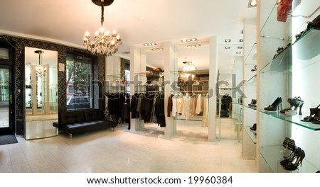 panoramic image of luxury boutique interior - stock photo