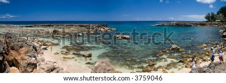 Panoramic image of Shark's Cove, the second most popular snorkeling site on Oahu - stock photo