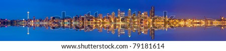 Panoramic Image of the city of Seattle - stock photo