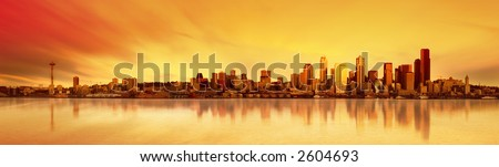 Panoramic Image of the city of Seattle at sunset - stock photo