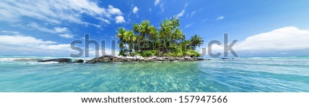 Panoramic image of tropical island. Web site or blog photo header or banner design for travel, tourism, sea or tropical nature theme.   - stock photo