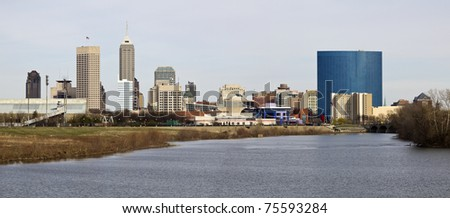 Panoramic Indianapolis - distant view accross the river - stock photo