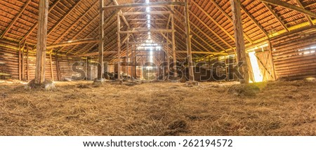 Panoramic Interior Of Old Farm With Straw