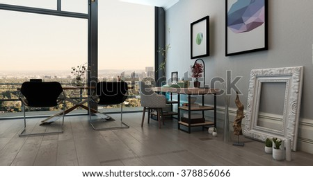 Panoramic Interior Of Open Concept Office In Modern High Rise Apartment Long Table With Chairs