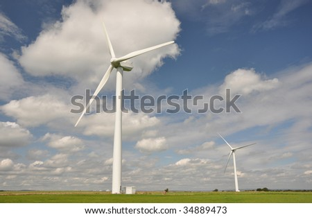 Panoramic landscape and wind turbines