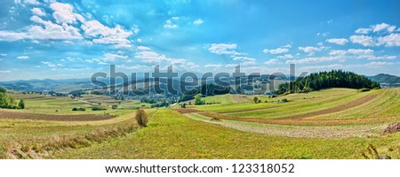 Panoramic landscape in Poland - stock photo