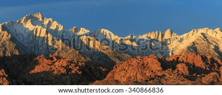Panoramic landscape in the Eastern Sierra Mountains, California, USA. - stock photo