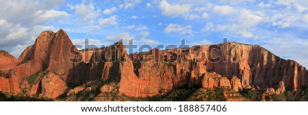 Panoramic landscape in Zion National Park, Utah, USA. - stock photo