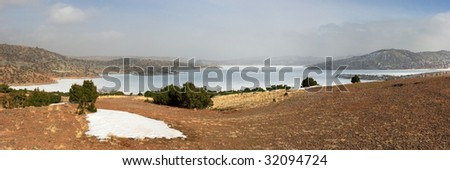 Panoramic landscape of Alcova lake under snow
