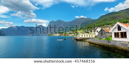 Panoramic landscape of bay and village. Aurlandsfjord, Aurland, Norway  - stock photo