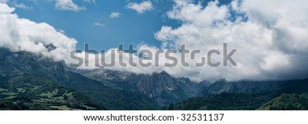 Panoramic landscape of Lescun in French Pyrenees