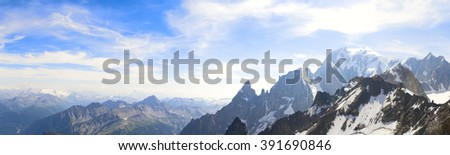 Panoramic landscape of mountain range of the Mont Blanc - stock photo
