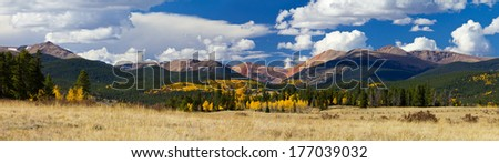 Panoramic landscape of the Colorado Rocky Mountains in Fall - stock photo