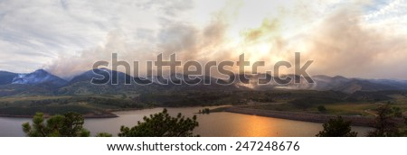 Panoramic landscape of the High Park Fire in Colorado, 2012 - stock photo