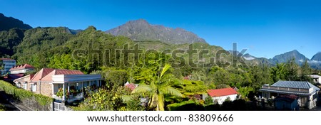 Panoramic landscape of the village of Hell-bourg, Reunion Island, France. - stock photo