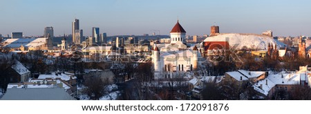 Panoramic landscape of Vilnius at winter - stock photo