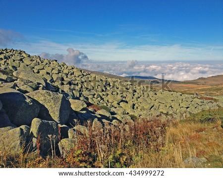 Panoramic landscape view and pile of stones in Vitosha mountain, Bulgaria - stock photo