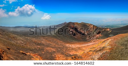Panoramic landscape view of Etna volcano, Sicily, Italy - stock photo