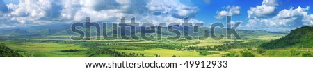 Panoramic landscape view of Sierra del Escambray in Cuba - stock photo