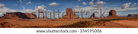 Panoramic landscape view of the famous Monument Valley Buttes - stock photo
