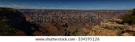 Panoramic landscape view of the Grand Canyon in Arizona - stock photo