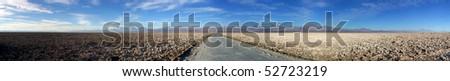 Panoramic look at the Salar de Atacama near San Pedro de Atacama, Chile - stock photo